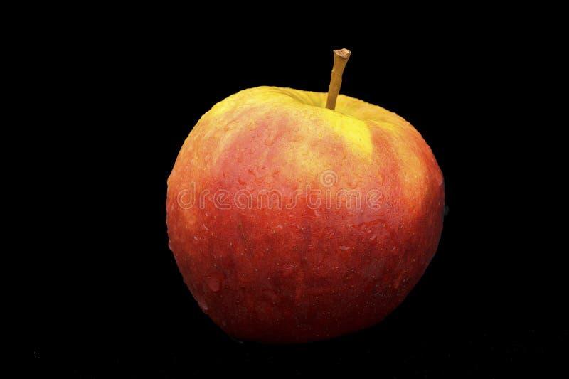 La pomme rouge sur le fond noir avec de l'eau se laisse tomber photo libre de droits