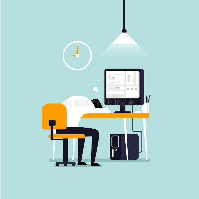 La porción de trabajo, hombre cayó dormido en la tabla en fondo azul imagen de archivo