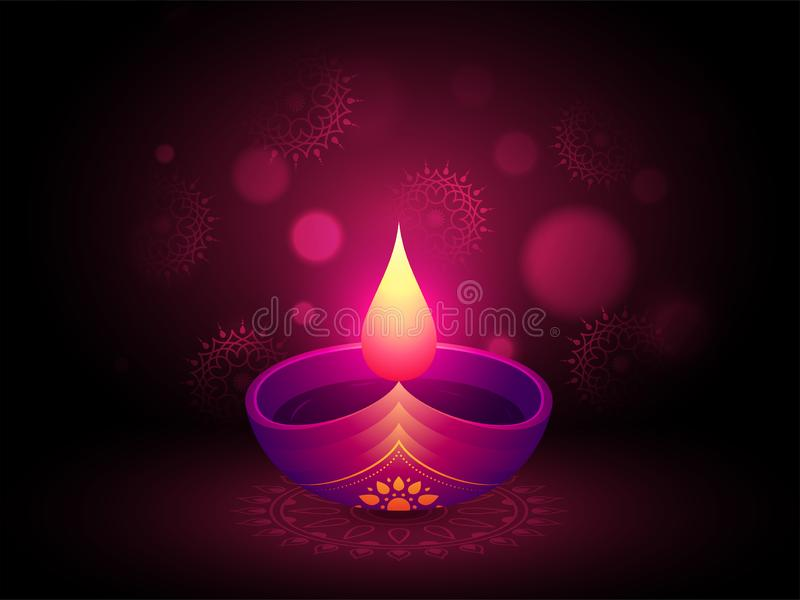 La porpora brillante ha acceso la lampada a olio su fondo floreale vago per Diwal royalty illustrazione gratis