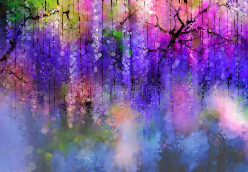 La porpora della primavera fiorisce le glicine Pittura dell'acquerello illustrazione di stock