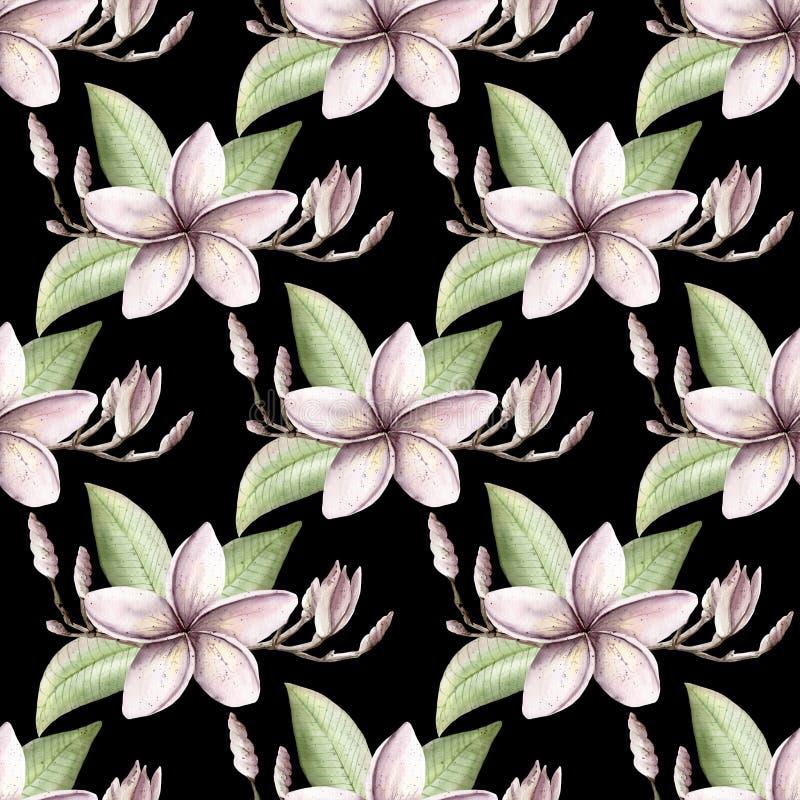 La porpora floreale di rosa del modello dell'acquerello dipinto a mano colora il seamle illustrazione di stock