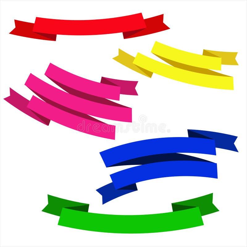 La porpora gialla rossa di verde blu ha isolato i nastri per i siti Web delle insegne delle alette di filatoio delle carte di pro illustrazione di stock