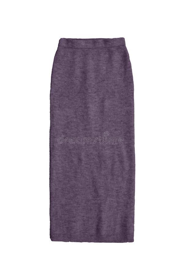 La porpora grigia tricotta la gonna isolata su fondo bianco fotografie stock libere da diritti