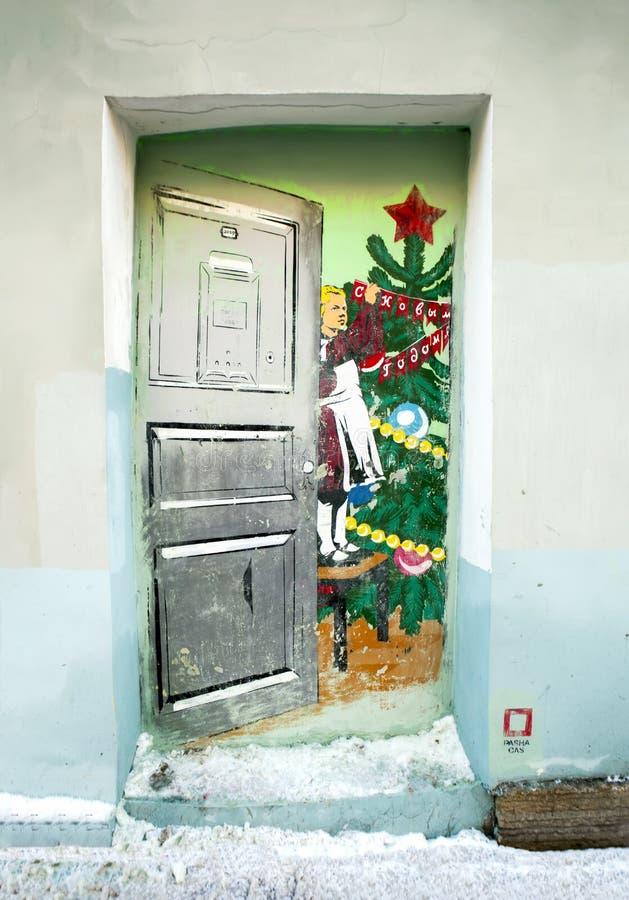 La porta dei graffiti al nuovo anno sovietico ` St Petersburg La Russia fotografie stock libere da diritti