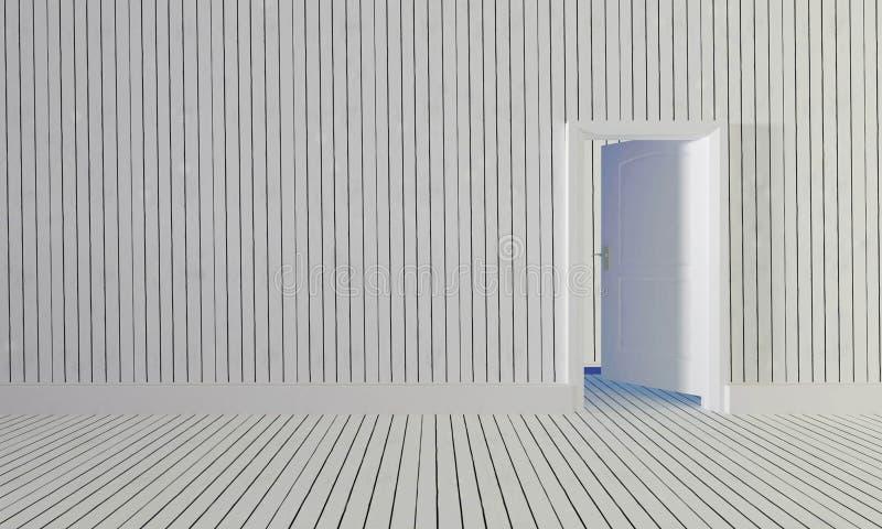 La porta di legno bianca aperta a stanza con la parete di legno background-3d illustrazione di stock