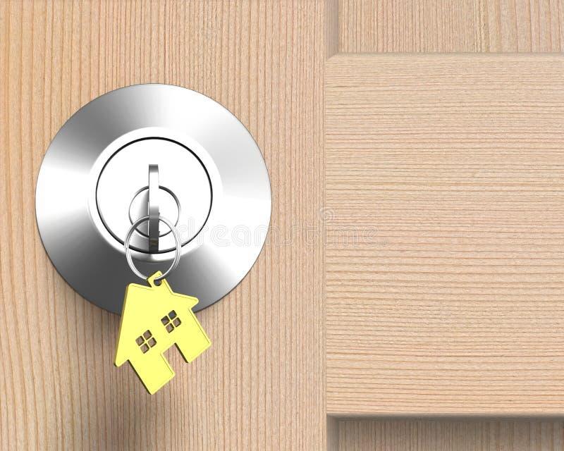 La porta di legno con la serratura e la casa modellano l'anello portachiavi illustrazione vettoriale