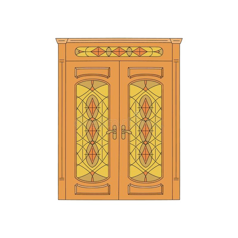 La porta di legno della casa con le sculture e l'illustrazione di vetro di vettore di schizzo ha isolato illustrazione di stock