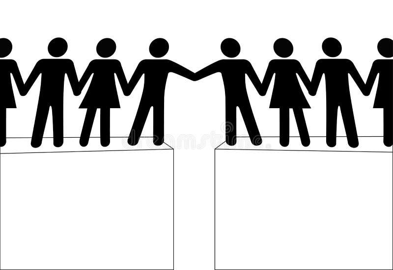 La portata dei gruppi della gente da unirsi connette insieme illustrazione di stock