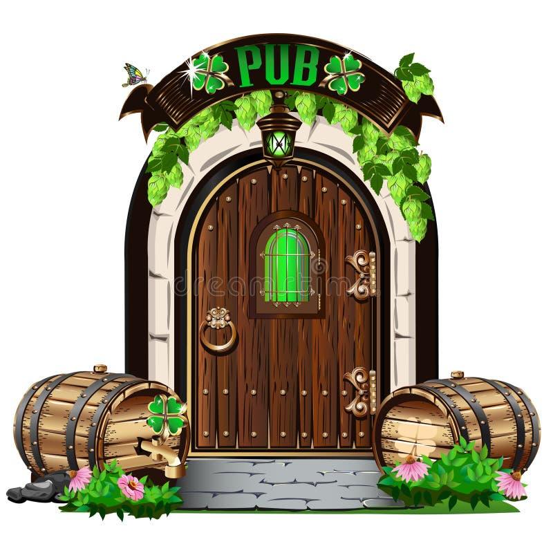 La porte au bar irlandais illustration de vecteur