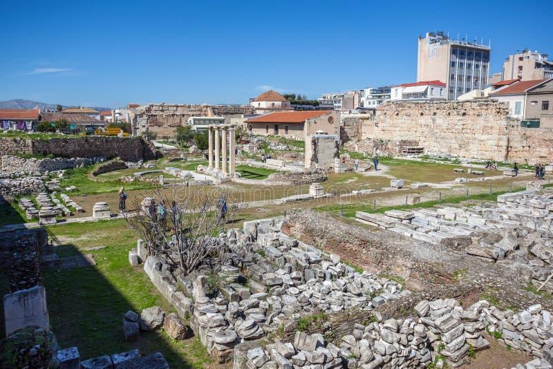 La porte d'Athena Archegetis et des restes de Roman Agora a établi I photographie stock libre de droits