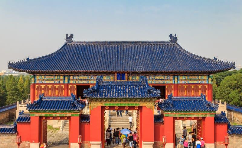 La porte dans le patrimoine culturel du monde de l'UNESCO du temple du Ciel se reposent images stock