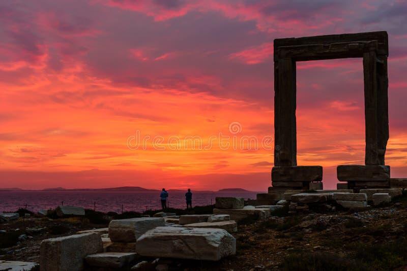 La porte de marbre antique Portara images libres de droits