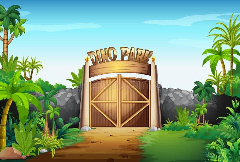 La porte du parc de Dino illustration libre de droits