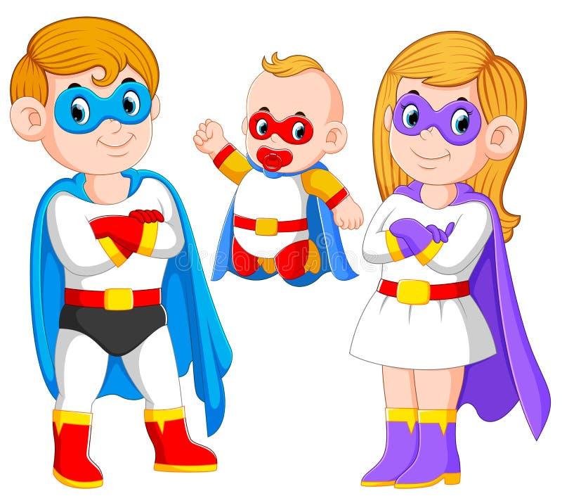 la posa della famiglia dei supereroi con il loro bambino illustrazione vettoriale