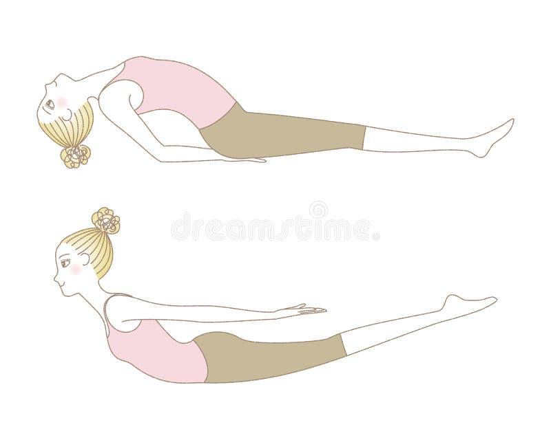La posa di yoga, la donna nella posa della locusta ed il pesce posano royalty illustrazione gratis
