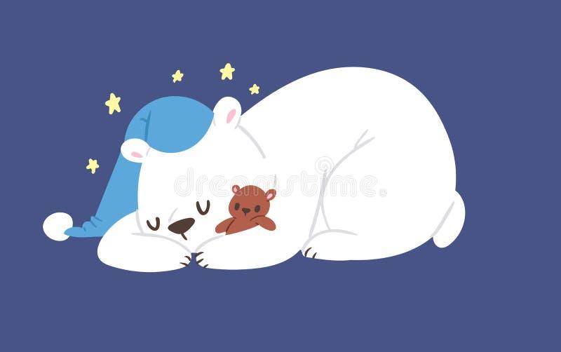 La posa divertente di stile dell'orso bianco di sonno di vettore del carattere sveglio animale polare di bellezza celebra la fest illustrazione di stock