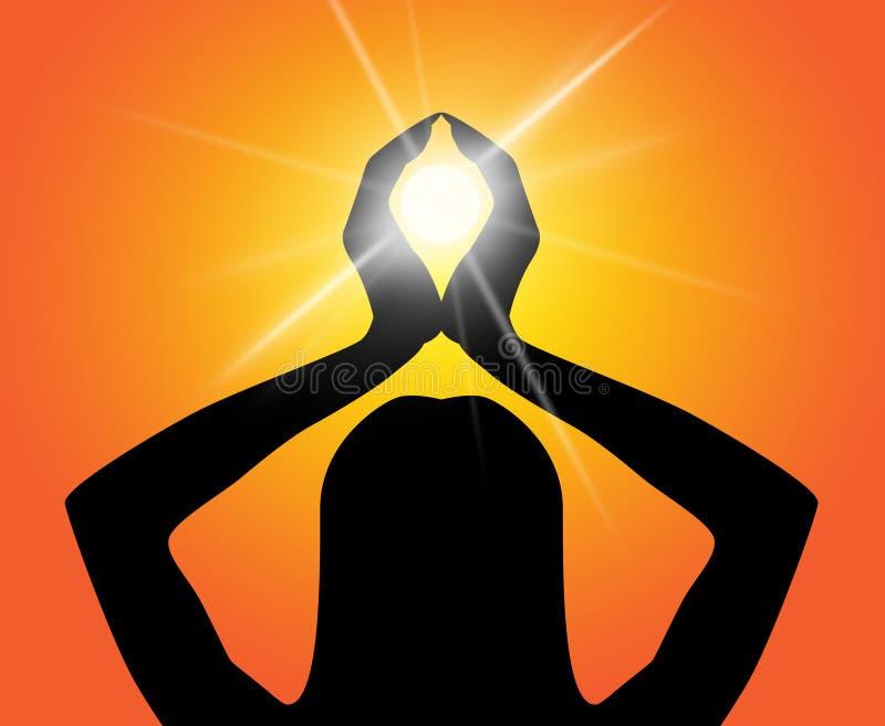 La pose de yoga signifie méditer et sensation d'éclaircissement illustration stock