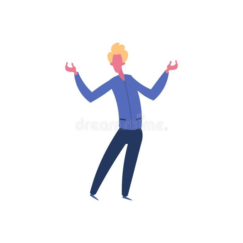 La pose ouverte de position de geste de bras de caractère blond d'homme a isolé l'appartement intégral de bande dessinée masculin illustration libre de droits