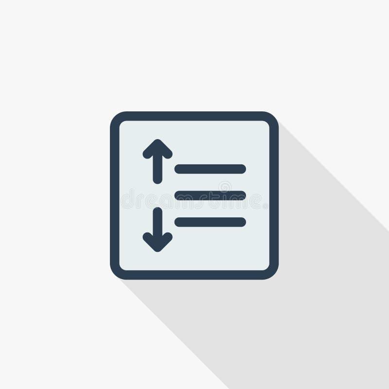 La posición del texto corrige, alineación, línea fina icono plano del intervalo del color Símbolo linear del vector Diseño largo  libre illustration