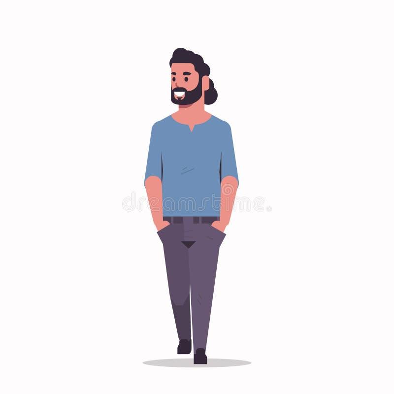La position arabe d'homme d'affaires posent l'homme barbu arabe portant l'appartement intégral de personnage de dessin animé masc illustration stock