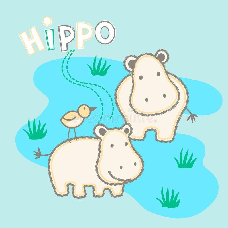 La position de l'hippopotame heureux dans l'eau avec un oiseau illustration stock