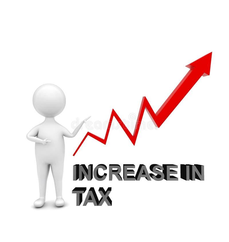 la position de l'homme 3d et le pointage est main vers une augmentation ascendante de _de graphique de flèche de concept d'impôts illustration de vecteur