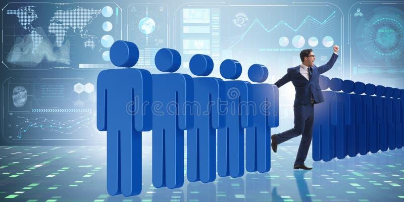 La position du concept de foule avec l'homme d'affaires illustration libre de droits