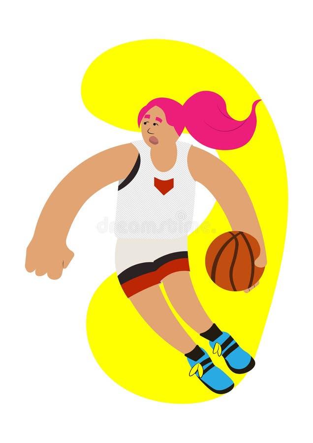 La possession de boule de fille de basket-ball de bande dessinée essayent de se précipiter illustration libre de droits