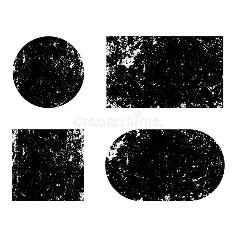 La posta del fondo di lerciume timbra i cerchi Insegne, insegne, logos, icone, etichette e distintivi messi tex di emergenza illustrazione vettoriale