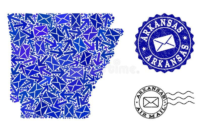 La posta dirige la composizione della mappa di mosaico delle guarnizioni dello stato e di emergenza dell'Arkansas illustrazione di stock