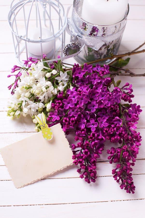 La postal con la lila blanca y violeta fresca florece en el dolor blanco fotografía de archivo libre de regalías