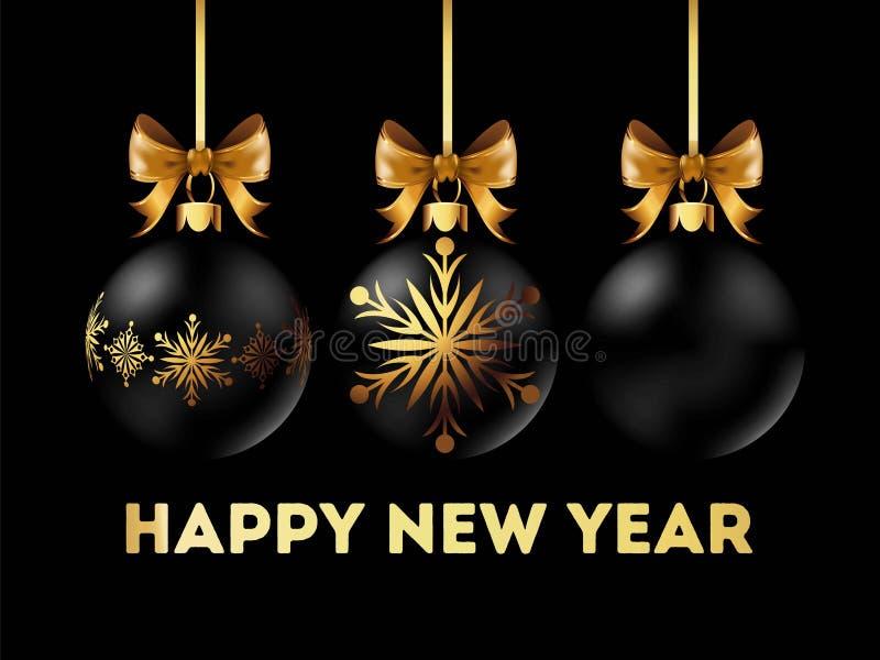 La postal 2018 de la Feliz Año Nuevo con la decoración elegante del árbol de navidad con el arco del oro de la cinta en ella aisl stock de ilustración