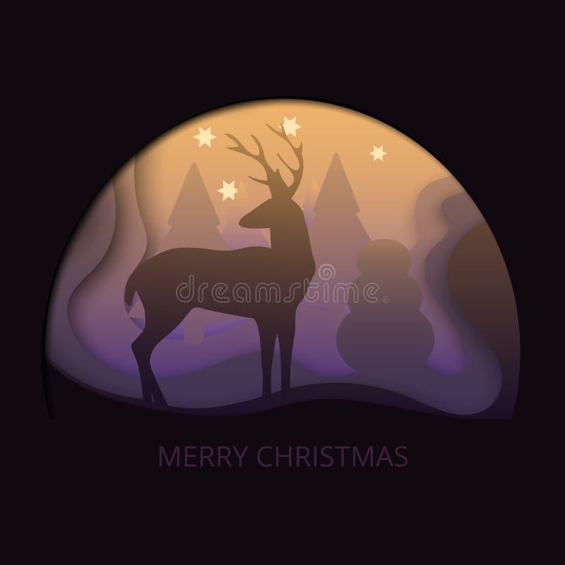 La postal de papel cortada acodada de la Feliz Navidad con los árboles, ciervos, estrellas en la niebla Vector la plantilla en la ilustración del vector