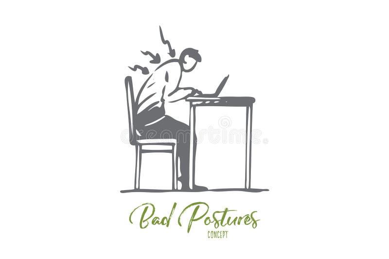 La postura, malo, espina dorsal, se sienta, presenta, concepto incorrecto Vector aislado dibujado mano libre illustration