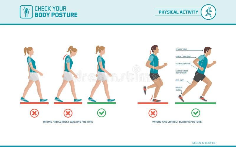 La postura que camina y de funcionamiento correcta stock de ilustración