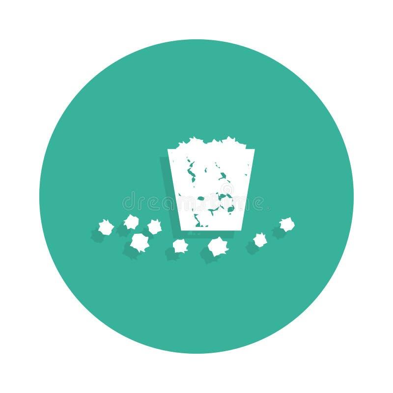 La poubelle est pleine Des déchets sont tombés sur l'icône au sol dans le style d'insigne avec l'ombre illustration libre de droits
