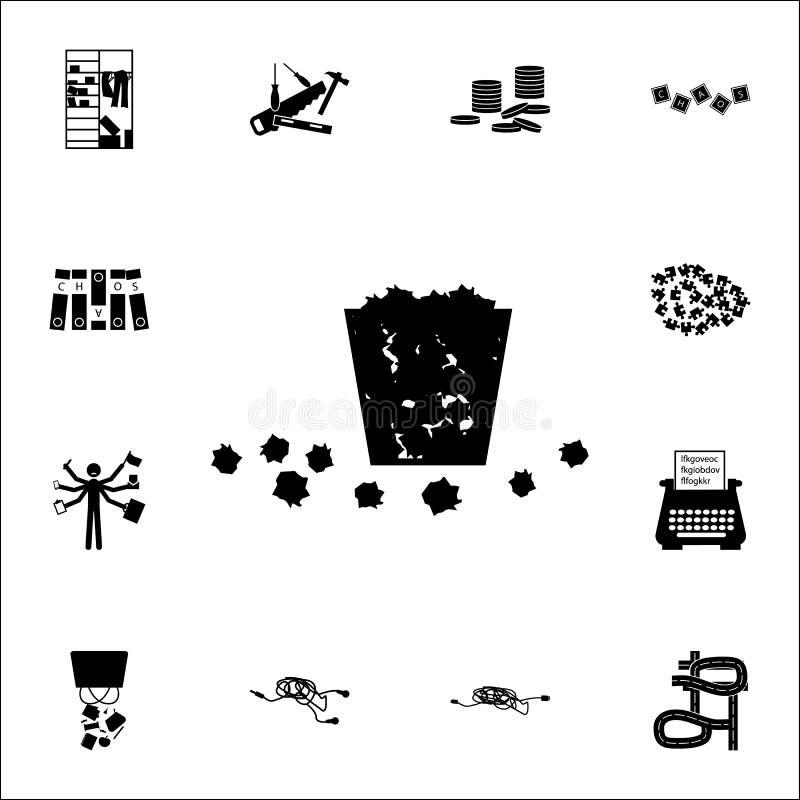 La poubelle est pleine Des déchets sont tombés sur l'icône au sol ensemble universel d'icônes de chaos pour le Web et le mobile illustration stock