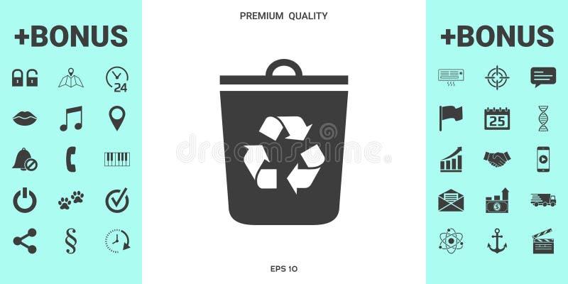 La poubelle, réutilisent l'icône de poubelle illustration stock
