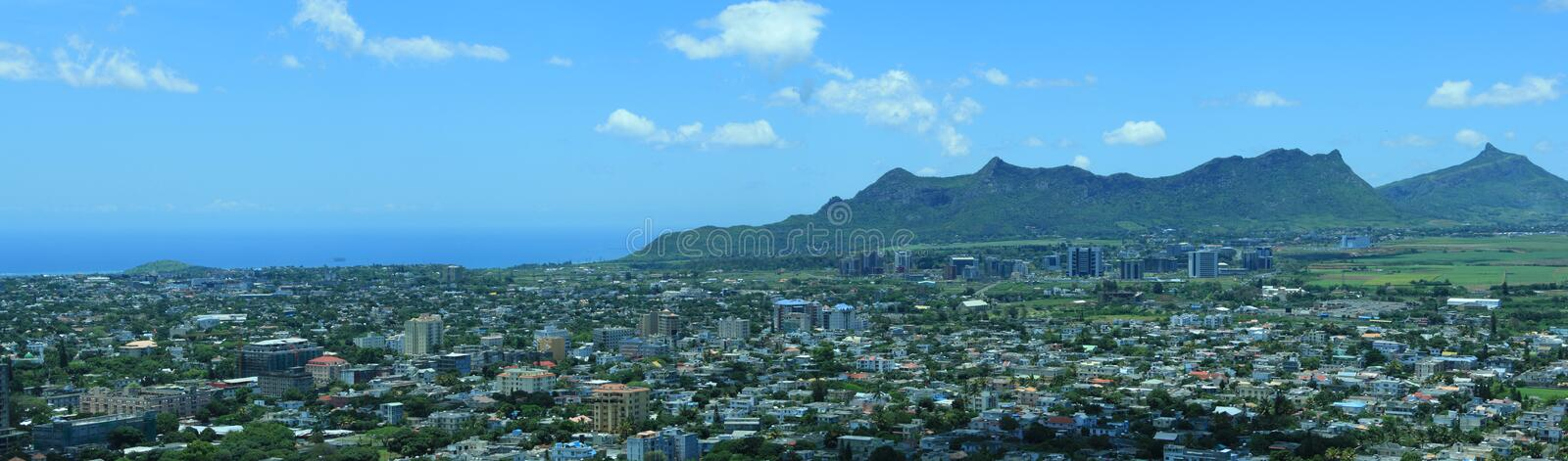 La pouce panorama. Panorama of a mountain range from candos stock images