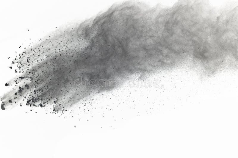 La poudre blanche abstraite splatted d'isolement sur le fond noir, Fre image libre de droits