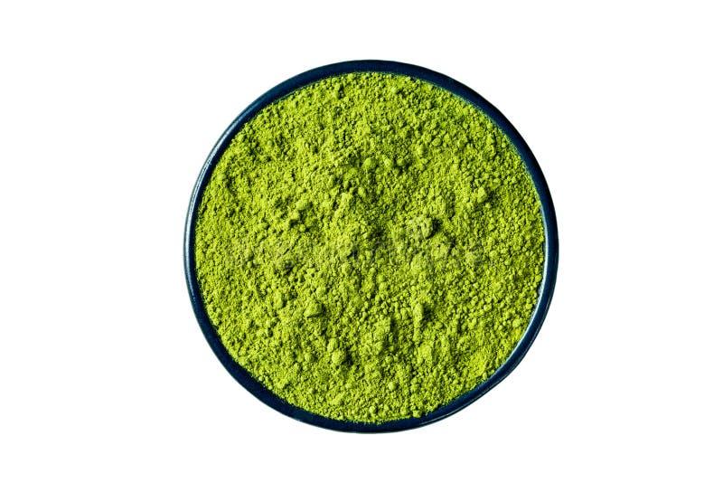 La poudre de thé vert de Matcha d'isolement sur le blanc, chemin de coupure incluent photographie stock libre de droits