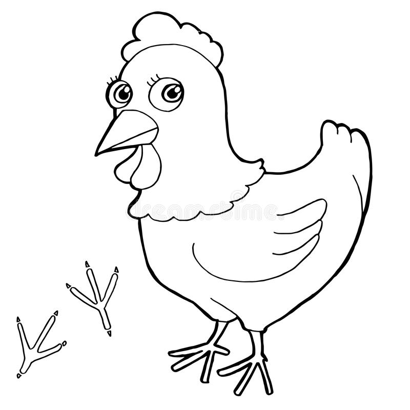 La poule avec la coloration d'impression de patte pagine le vecteur illustration de vecteur