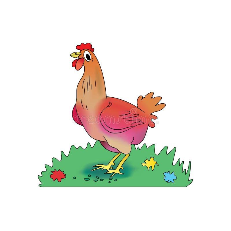 La poule de bande dessinée picote le maïs sur un pré illustration stock