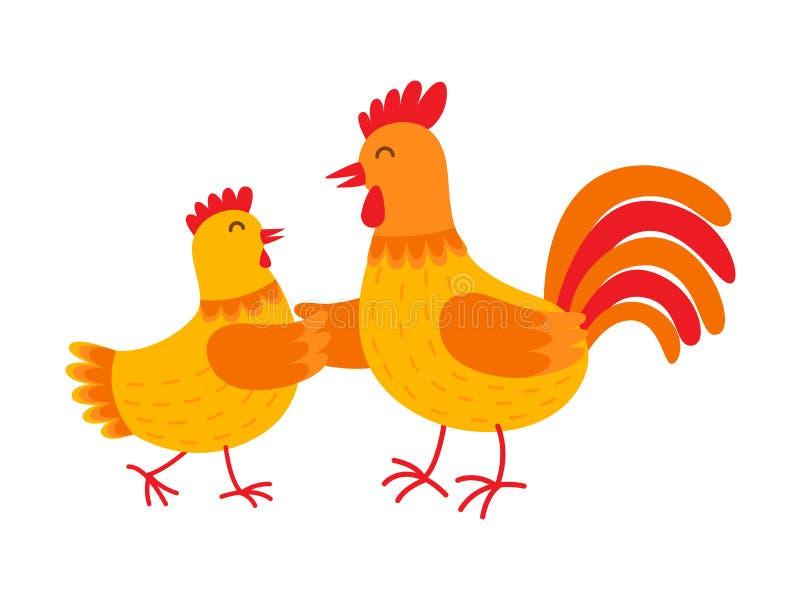 La poule et le coq drôles dansent l'illustration plate de vecteur d'isolement sur le fond blanc Poule et coq oranges mignons illustration libre de droits