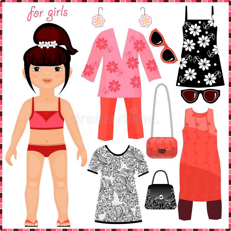 La poupée de papier avec un ensemble de mode vêtx. illustration libre de droits