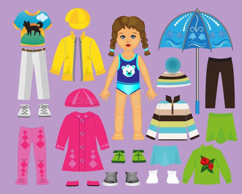 La poupée de papier vêtx et a placé pour le jeu et la créativité Partie 2 Automne illustration stock