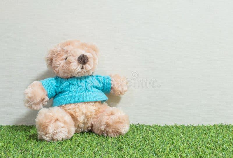 La poupée mignonne d'ours brun de plan rapproché sur le plancher artificiel d'herbe et la crème wallpaper le fond texturisé par m photographie stock libre de droits