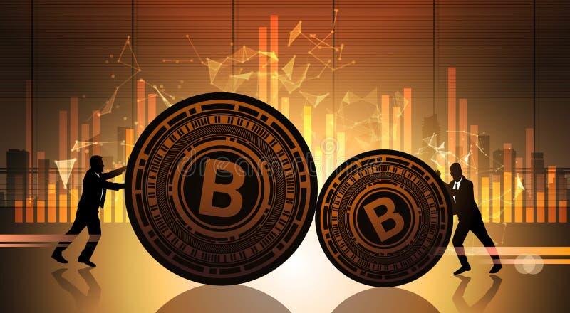 La poussée Bitcoin de deux hommes d'affaires au-dessus des données de statistique dresse une carte le crypto argent de Web de Dig illustration libre de droits