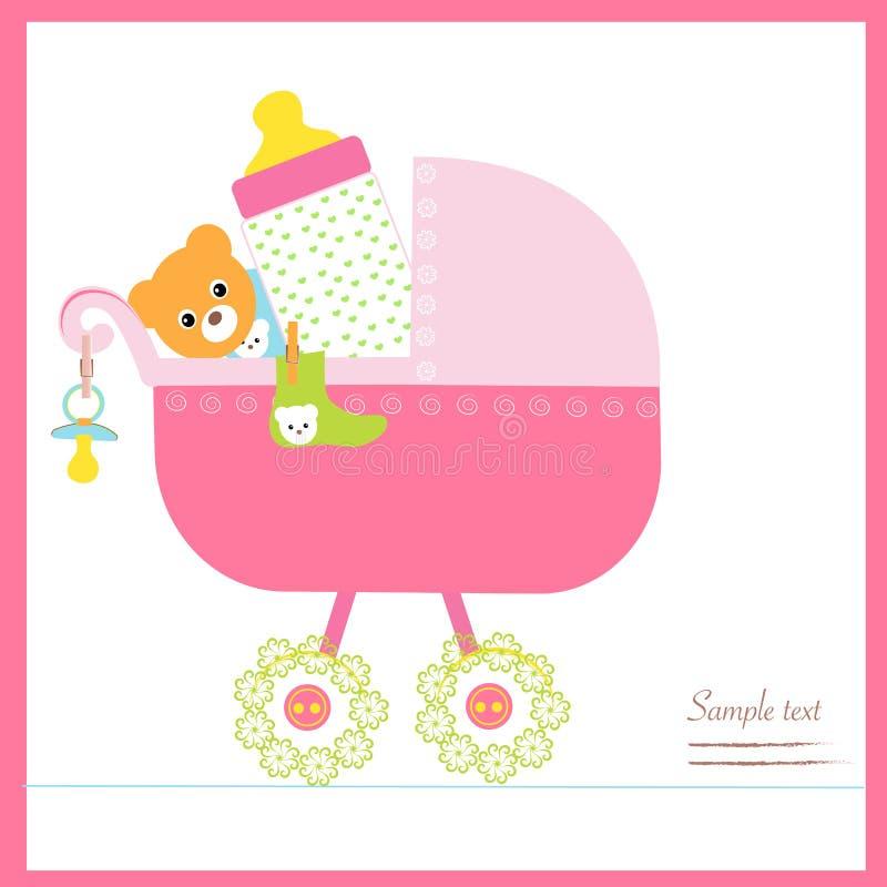La poussette de bébé avec la bouteille, soother, cogne le vecteur illustration libre de droits