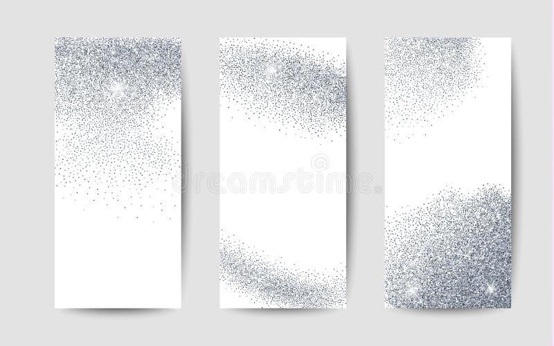 La poussière argentée sur le fond blanc Fond argenté de scintillement illustration libre de droits